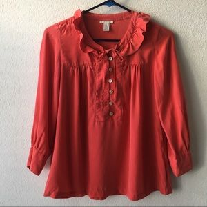 Red J.Crew 100% Silk Ruffle Buttoned Blouse